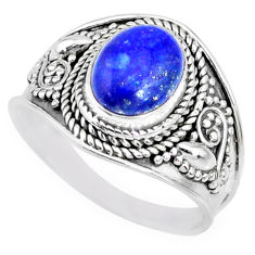 3.01cts natural blue lapis lazuli 925 silver solitaire ring size 9 r74705