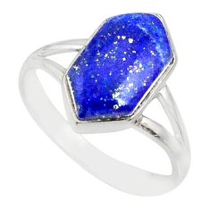 5.57cts natural blue lapis lazuli 925 silver solitaire ring size 9 r80186