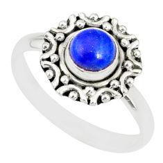 1.12cts natural blue lapis lazuli 925 silver solitaire ring size 9 r82118
