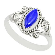 2.53cts natural blue lapis lazuli 925 silver solitaire ring size 9 r82505