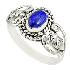1.56cts natural blue lapis lazuli 925 silver solitaire ring size 9 r82507