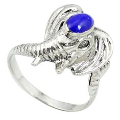 Natural blue lapis lazuli 925 sterling silver elephant ring size 8.5 c11881