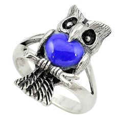 Natural blue lapis lazuli 925 sterling silver owl charm ring size 5.5 c21669
