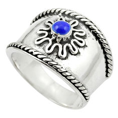 Natural blue lapis lazuli 925 sterling silver ring size 8.5 c12006