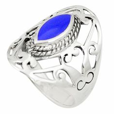Natural blue lapis lazuli 925 sterling silver ring size 8.5 c12679