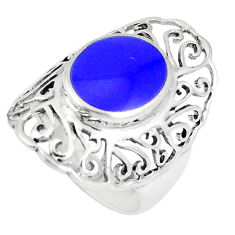 3.41cts natural blue lapis lazuli 925 sterling silver ring size 5.5 c12900