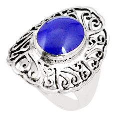 Natural blue lapis lazuli 925 sterling silver ring jewelry size 8.5 c12338