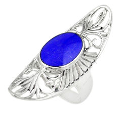 Natural blue lapis lazuli 925 sterling silver ring jewelry size 7 c12103