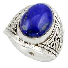 6.39cts natural blue lapis lazuli 925 sterling silver ring jewelry size 7 r42804