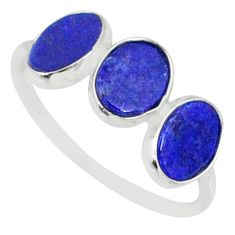 5.65cts natural blue lapis lazuli 925 sterling silver ring jewelry size 7 r88023