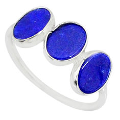 5.70cts natural blue lapis lazuli 925 sterling silver ring jewelry size 7 r88039