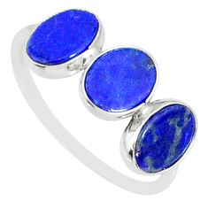 5.28cts natural blue lapis lazuli 925 sterling silver ring jewelry size 7 r88046