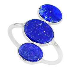 6.86cts natural blue lapis lazuli 925 sterling silver ring jewelry size 7 r88135