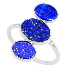 6.97cts natural blue lapis lazuli 925 sterling silver ring jewelry size 7 r88158