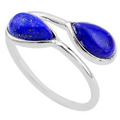 4.05cts natural blue lapis lazuli 925 sterling silver ring jewelry size 7 t1706