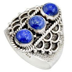 2.81cts natural blue lapis lazuli 925 sterling silver ring jewelry size 8 r26828