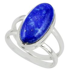 7.55cts natural blue lapis lazuli 925 sterling silver ring jewelry size 8 r42198