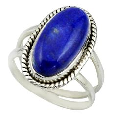 8.56cts natural blue lapis lazuli 925 sterling silver ring jewelry size 8 r42220