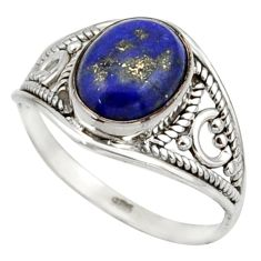 3.68cts natural blue lapis lazuli 925 sterling silver ring jewelry size 8 r42751