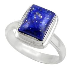 4.21cts natural blue lapis lazuli 925 sterling silver ring jewelry size 8 r42765