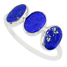 5.65cts natural blue lapis lazuli 925 sterling silver ring jewelry size 8 r88021