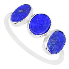 5.88cts natural blue lapis lazuli 925 sterling silver ring jewelry size 8 r88043