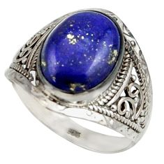 6.13cts natural blue lapis lazuli 925 sterling silver ring jewelry size 9 r42806