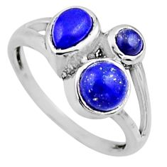 4.06cts natural blue lapis lazuli 925 sterling silver ring jewelry size 9 r54511