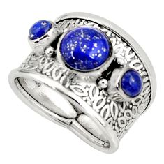 5.30cts natural blue lapis lazuli 925 sterling silver ring size 7.5 r37931