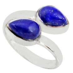 4.92cts natural blue lapis lazuli 925 sterling silver ring size 7.5 r37951