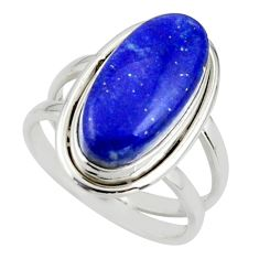 7.38cts natural blue lapis lazuli 925 sterling silver ring size 7.5 r42192