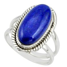 7.50cts natural blue lapis lazuli 925 sterling silver ring size 7.5 r42193
