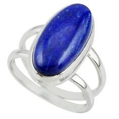 7.05cts natural blue lapis lazuli 925 sterling silver ring size 7.5 r42195