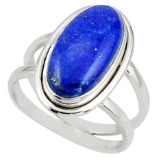 7.21cts natural blue lapis lazuli 925 sterling silver ring size 8.5 r42196