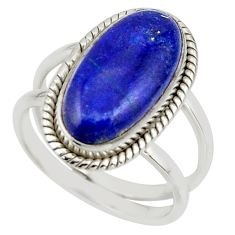 7.19cts natural blue lapis lazuli 925 sterling silver ring size 8.5 r42197