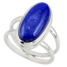 6.91cts natural blue lapis lazuli 925 sterling silver ring size 7.5 r42200