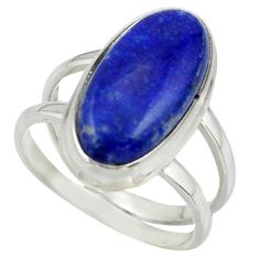 8.29cts natural blue lapis lazuli 925 sterling silver ring size 7.5 r42219