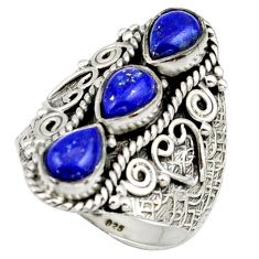 4.72cts natural blue lapis lazuli 925 sterling silver ring size 8.5 r42474