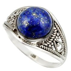 5.16cts natural blue lapis lazuli 925 sterling silver ring size 9.5 r42789