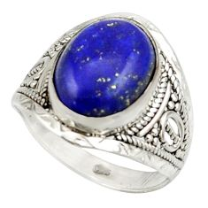6.25cts natural blue lapis lazuli 925 sterling silver ring size 8.5 r42805