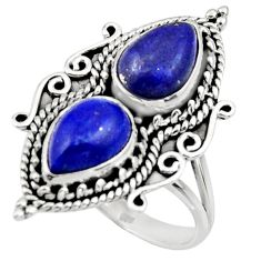 6.39cts natural blue lapis lazuli 925 sterling silver ring size 7.5 r44709