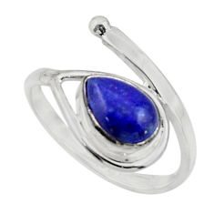 2.66cts natural blue lapis lazuli 925 sterling silver ring size 7.5 r44864