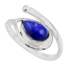 2.75cts natural blue lapis lazuli 925 sterling silver ring size 7.5 r44865