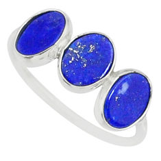 5.15cts natural blue lapis lazuli 925 sterling silver ring size 7.5 r88024