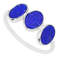 5.70cts natural blue lapis lazuli 925 sterling silver ring size 7.5 r88027