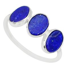 5.58cts natural blue lapis lazuli 925 sterling silver ring size 7.5 r88030