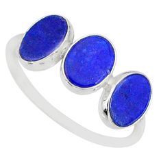 5.58cts natural blue lapis lazuli 925 sterling silver ring size 7.5 r88035