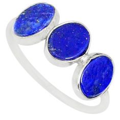 5.88cts natural blue lapis lazuli 925 sterling silver ring size 7.5 r88041