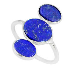 6.94cts natural blue lapis lazuli 925 sterling silver ring size 7.5 r88125