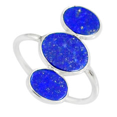 6.67cts natural blue lapis lazuli 925 sterling silver ring size 7.5 r88136